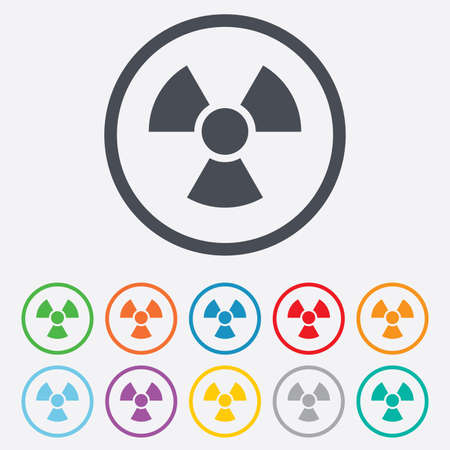 Radiation sign icon. Danger symbol. Round circle buttons with frame.  Vector