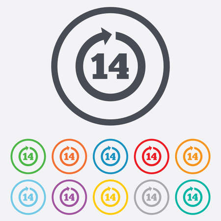 Return of goods within 14 days sign icon. Warranty exchange symbol. Round circle buttons with frame.