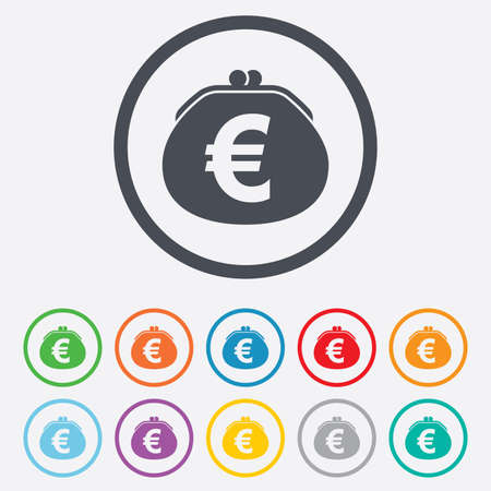 Wallet euro sign icon. Cash bag symbol. Round circle buttons with frame.  Vector