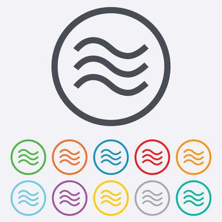 olas de mar: Ondas de agua firman icono. S�mbolo de inundaci�n. Botones de c�rculo redondos con marco. Vectores