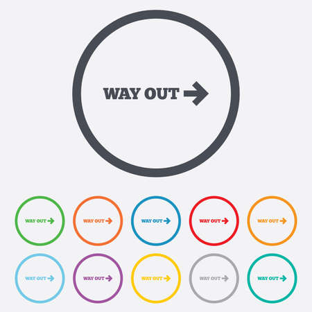 way out: Way out right sign icon. Arrow symbol. Round circle buttons with frame.  Illustration