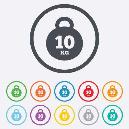 kg: Weight sign icon. 10 kilogram (kg). Sport symbol. Fitness. Round circle buttons with frame. Vector