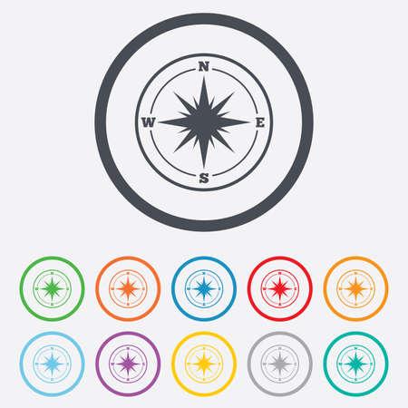 rosa dei venti: Bussola icona segno. Wind-rose simbolo navigazione. Cerchio pulsanti rotondi con telaio. Vettoriali