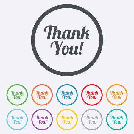thanks a lot: Thank you sign icon. Customer service symbol. Round circle buttons with frame.