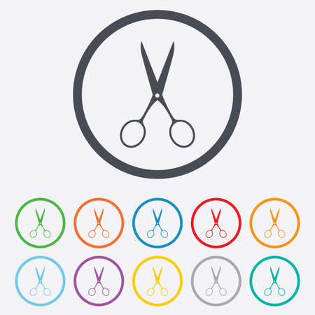 disclosed: Scissors hairdresser sign icon. Tailor symbol. Round circle buttons with frame. Illustration