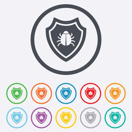 Shield sign icon. Virus protection symbol. Bug symbol. Round circle buttons with frame.  Vector