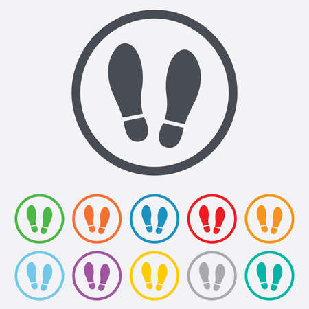 shoe print: Imprint soles shoes sign icon. Shoe print symbol. Round circle buttons with frame.