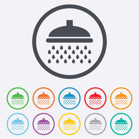 Shower sign icon. Douche with water drops symbol. Round circle buttons with frame.  Vector