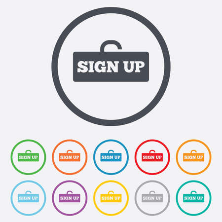 lock up: Sign up sign icon. Registration symbol. Lock icon. Round circle buttons with frame.