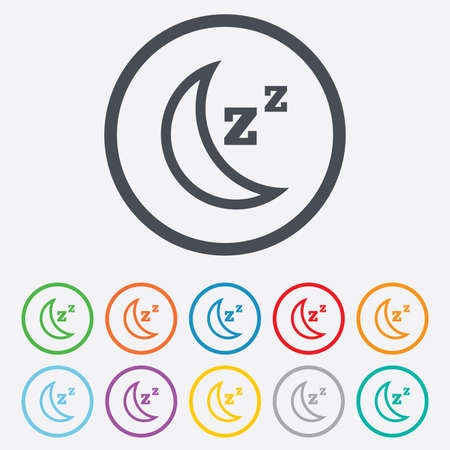 standby: Sleep sign icon. Moon with zzz button. Standby. Round circle buttons with frame.