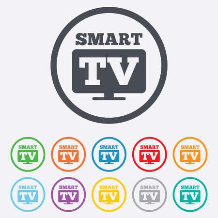 set de television: Widescreen signo icono de Smart TV. Televisi�n s�mbolo. Botones de c�rculo redondos con marco. Vectores
