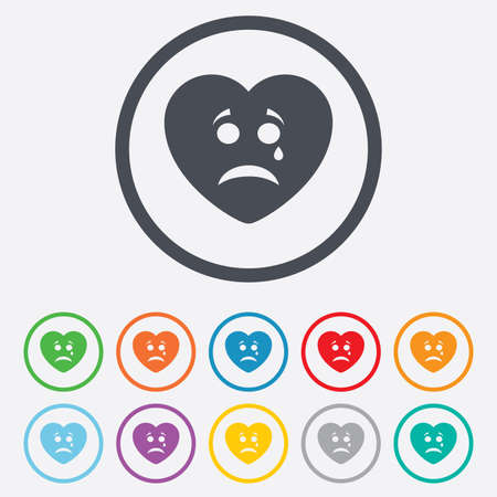 Sad heart face with tear sign icon. Crying chat symbol. Round circle buttons with frame. Vector
