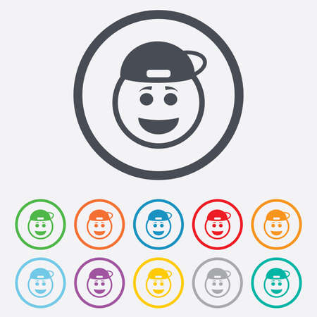 Smile rapper face sign icon. Happy smiley with hairstyle chat symbol. Round circle buttons with frame.  Vector