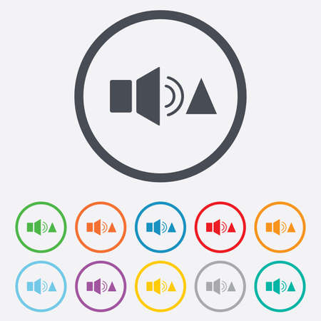 louder: Speaker volume louder sign icon. Sound symbol. Round circle buttons with frame.