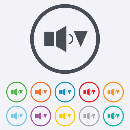 Speaker low volume sign icon. Sound symbol. Round circle buttons with frame.  Vector