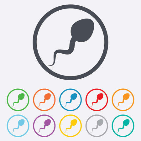 espermatozoides: Icono de la muestra de esperma. Fertilización o símbolo de la inseminación. Botones de círculo redondos con marco. Vectores