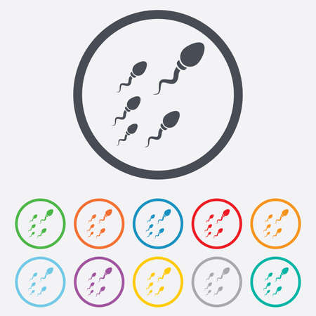 insemination: Sperm sign icon. Fertilization or insemination symbol. Race. Round circle buttons with frame.