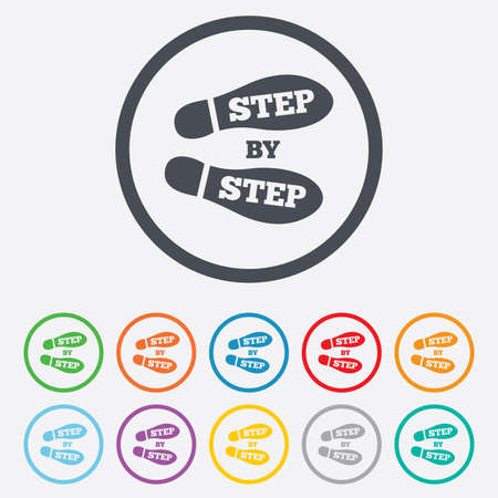 Step by step sign icon. Footprint shoes symbol. Round circle buttons with frame. Vector
