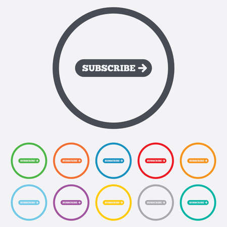 Subscribe with arrow sign icon. Membership symbol. Website navigation. Round circle buttons with frame.  Vector