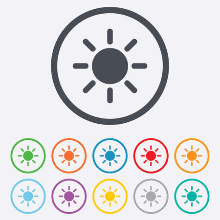 solarium: Sun sign icon. Solarium symbol. Heat button. Round circle buttons with frame.