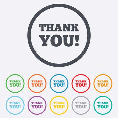 gratitudine: Grazie firmare icona. Simbolo Gratitudine. Cerchio pulsanti rotondi con telaio.