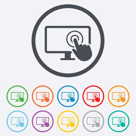 widescreen: Touch screen monitor sign icon. Hand pointer symbol. Round circle buttons with frame.