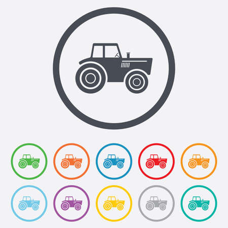 tractor sign: Tractor sign icon. Agricultural industry symbol. Round circle buttons with frame. Illustration
