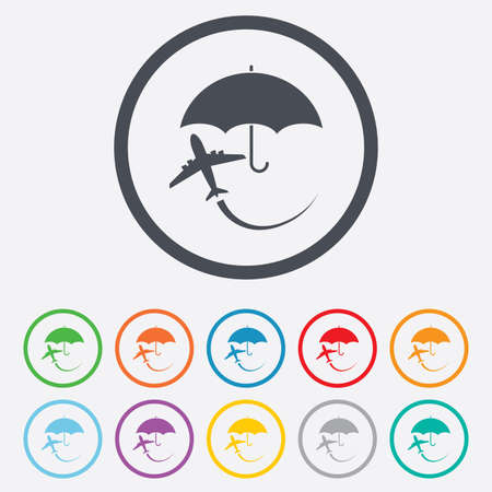 Flight insurance sign icon. Safe travel symbol. Round circle buttons with frame.  Vector