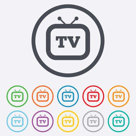 set de television: Retro TV icono de la muestra. Televisi�n s�mbolo. Botones de c�rculo redondos con marco.
