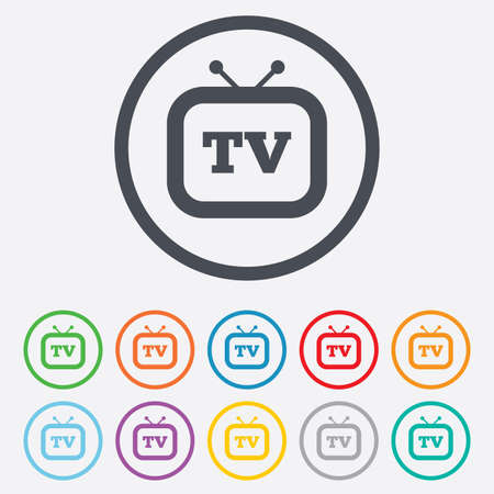 television aerial: Retro TV sign icon. Television set symbol. Round circle buttons with frame.
