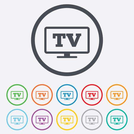 set de television: Widescreen signo icono TV. Televisi�n s�mbolo. Botones de c�rculo redondos con marco.