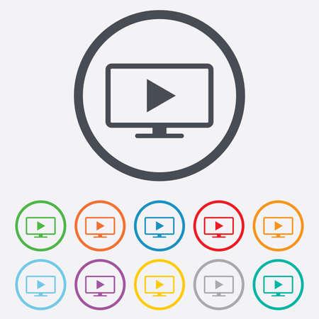 set de television: Widescreen icono de signo modo TV. Televisi�n s�mbolo. Botones de c�rculo redondos con marco.
