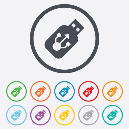 Usb sign icon. Usb flash drive stick symbol. Round circle buttons with frame. Vector