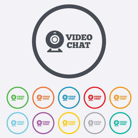 web cam: Video chat sign icon. Webcam video conversation symbol. Website webcam talk. Round circle buttons with frame. Illustration