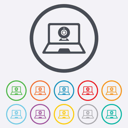 Video chat laptop sign icon. Web communication symbol. Website webcam talk. Round circle buttons with frame. Vector