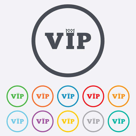 very important person: Vip sign icon. Membership symbol. Very important person. Round circle buttons with frame.