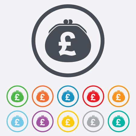 Wallet pound sign icon. Cash bag symbol. Round circle buttons with frame.  Vector