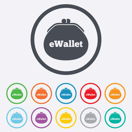 e wallet: e Wallet sign icon. Electronic wallet symbol. Round circle buttons with frame.