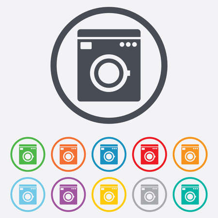 laundry machine: Washing machine icon. Home appliances symbol. Round circle buttons with frame.