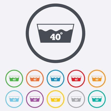washbowl: Wash icon. Machine washable at 40 degrees symbol. Round circle buttons with frame. Illustration