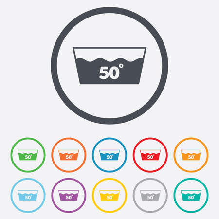 washbowl: Wash icon. Machine washable at 50 degrees symbol. Round circle buttons with frame.