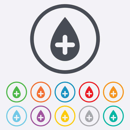 Water drop with plus sign icon. Softens water symbol. Round circle buttons with frame.