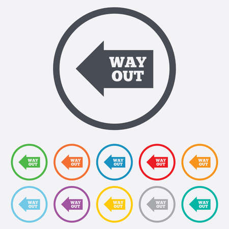 Way out left sign icon. Arrow symbol. Round circle buttons with frame.  Vector