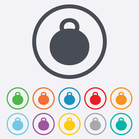 Weight sign icon. Sport symbol. Fitness. Round circle buttons with frame.