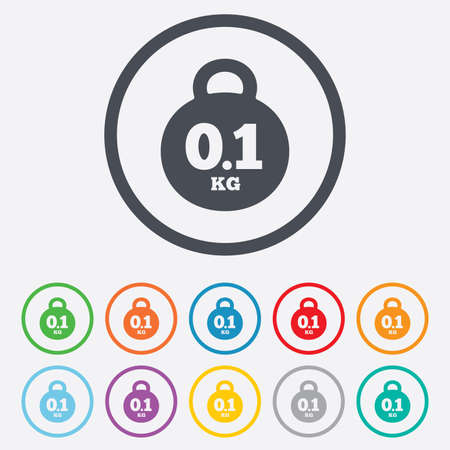 Weight sign icon. 0.1 kilogram (kg). Envelope mail weight. Round circle buttons with frame.  Vector