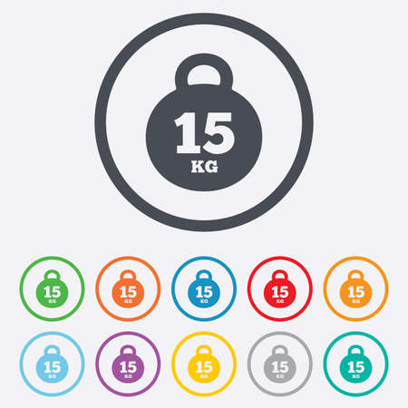 Weight sign icon. 15 kilogram (kg). Sport symbol. Fitness. Round circle buttons with frame. Vector