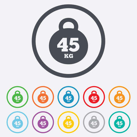 Weight sign icon. 45 kilogram (kg). Sport symbol. Fitness. Round circle buttons with frame.  Vector