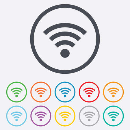 wifi sign: Wifi sign. Wireless Network icon. Wifi zone. Round circle buttons with frame.  Illustration