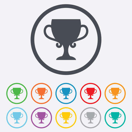 awarding: Winner cup sign icon. Awarding of winners symbol. Trophy. Round circle buttons with frame.