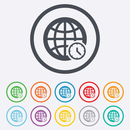 ut: World time sign icon. Universal time globe symbol. Round circle buttons with frame.